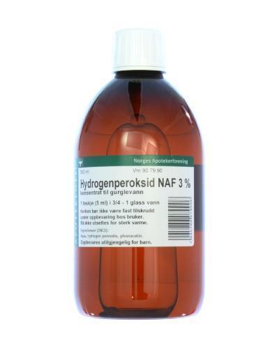 Hydrogenperoksid NAF 3% konsentrat til gurglevann 500ml