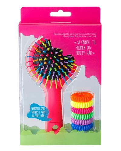 Regnbuebørste og spiralformede hårstrikker 1sett