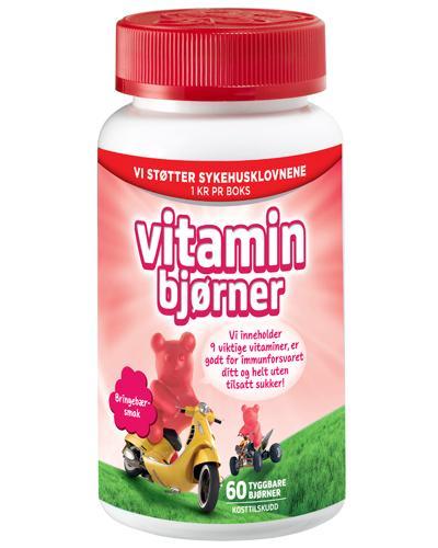 Vitaminbjørner med bringebærsmak 60 stk