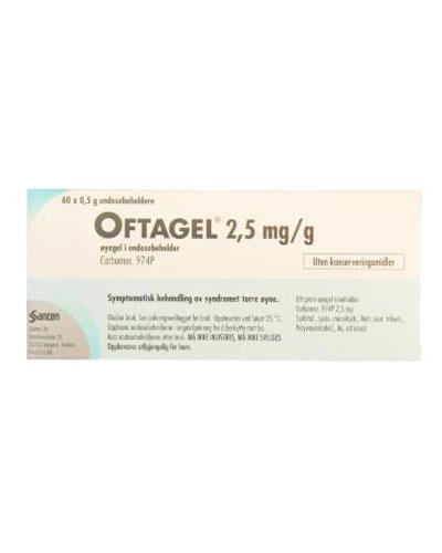 Oftagel Øyegel 2,5 mg/g 60x0,5g