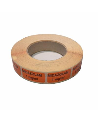 Etikett Midazolam 1mg/ml, orange 1000stk