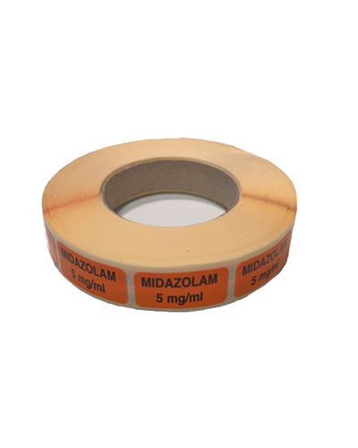 Etikett Midazolam 5mg/ml, orange 1000stk