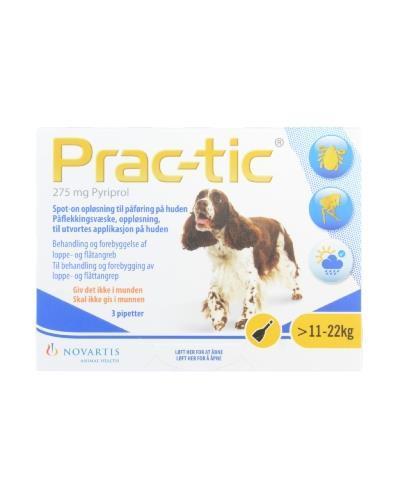 Prac-tic 275mg flåttmiddel til hund 11-22kg 3x2,2ml