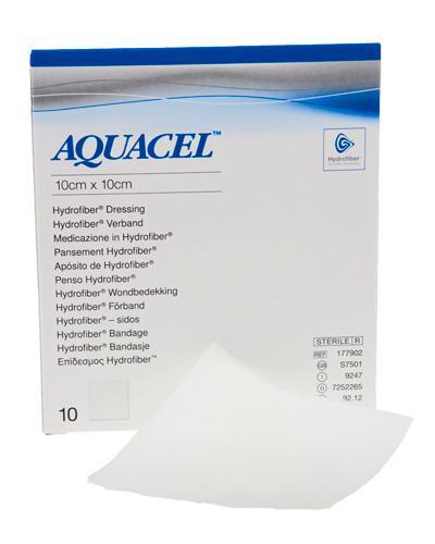 Aquacel hydrofiber bandasje 10x10cm 10stk