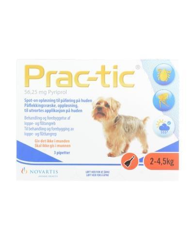 Prac-tic 56,25mg flåttmiddel til hund 2-4,5kg 3x0,45ml