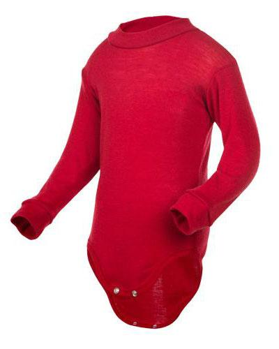 WE body 100% ull rød str 70-80 1stk
