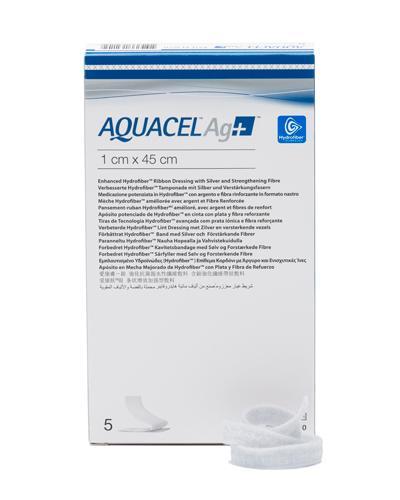 Aquacel Ag+ hydrofiber sårfyller band. sølv 1x45cm 5stk