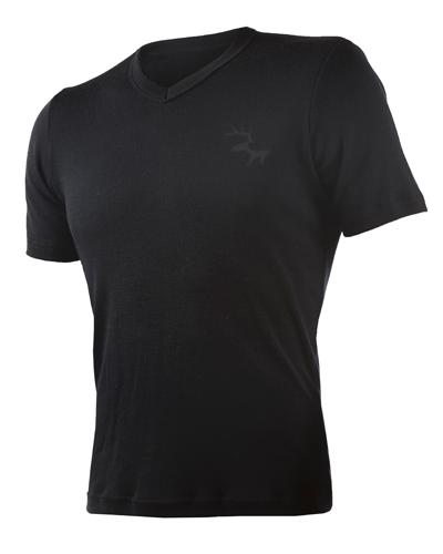 WE t-skjorte v-hals 100% ull herre sort L 1stk