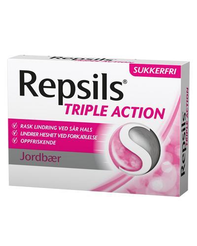 Repsils Triple Action halstabletter jordbær 24stk