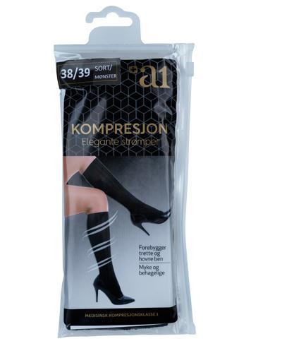 a1 Kompresjon Elegante strømper sort 38/39 1par