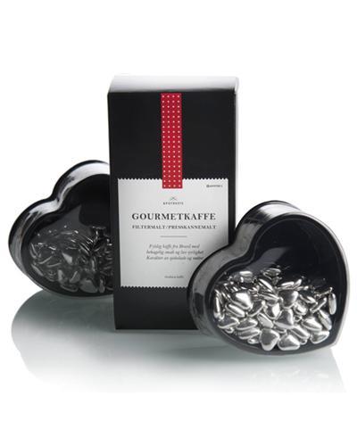 Apotekets gavesett sølvhjertesjokolade og kaffe 220+200g