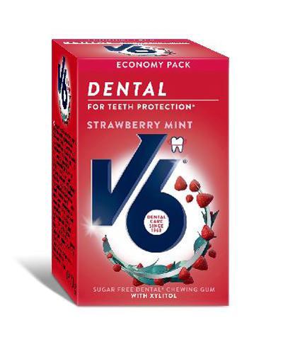 V6 Dental Care tyggegummi jordbær mint 70g