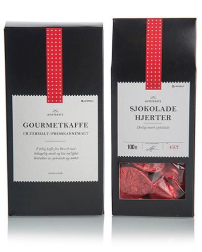 Apotekets gavesett med kaffe og hjertesjokolade 200+100g