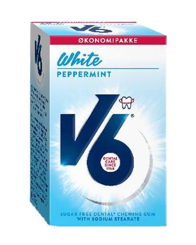 V6 White tyggegummi peppermynte 72g