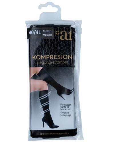 a1 Kompresjon Elegante strømper sort 40/41 1par