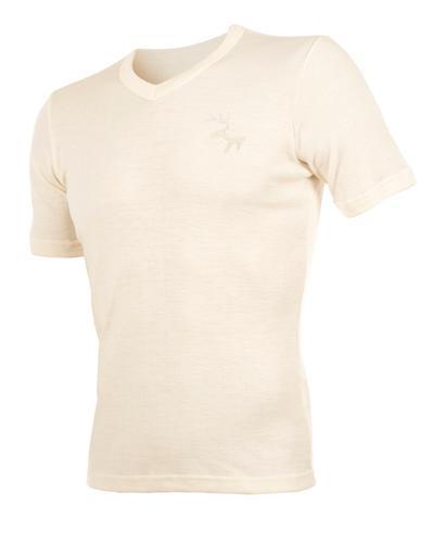 WE t-skjorte v-hals 100% ull herre hvit L 1stk