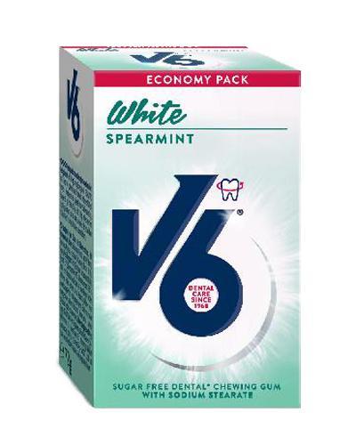 V6 White tyggegummi spearmint 72g