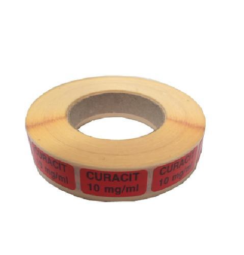 Etikett Curacit 10mg/ml, rød 1000stk