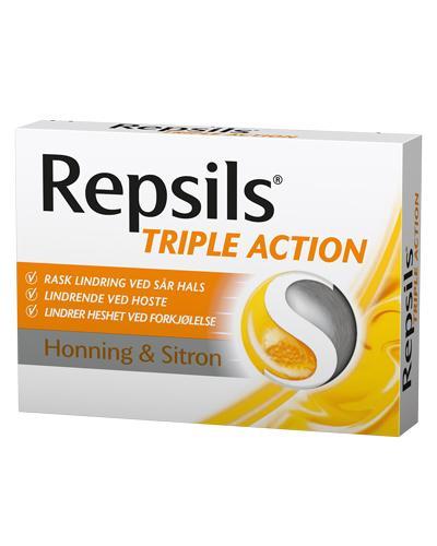 Repsils Triple Action halstabletter honning&sitron 24stk