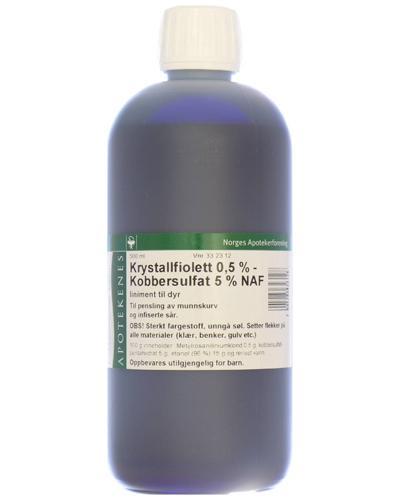 Krystallfiolett 0,5%-kobbersulfat 5% NAF til dyr 500ml