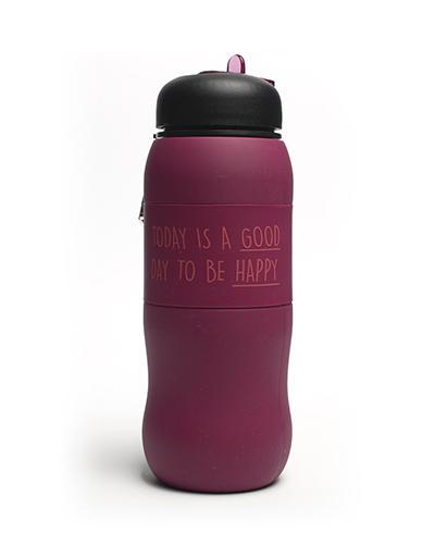 Drikkeflaske i silikon 600 ml lilla 1stk