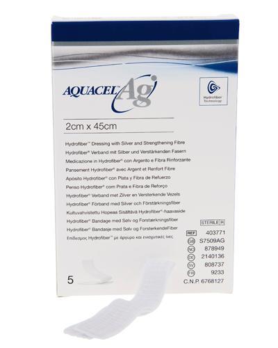 Aquacel Ag hydrofiber sårfyller band. sølv 2x45cm 5stk