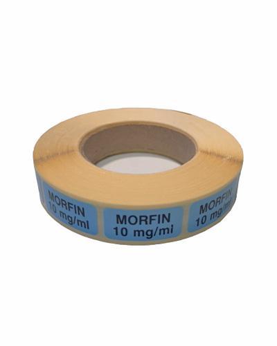 Etikett Morfin 10mg/ml, blå 1000stk