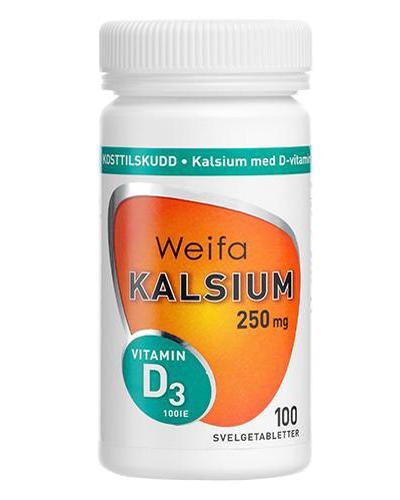 Weifa kalsium 250mg m D-vitamin 100stk