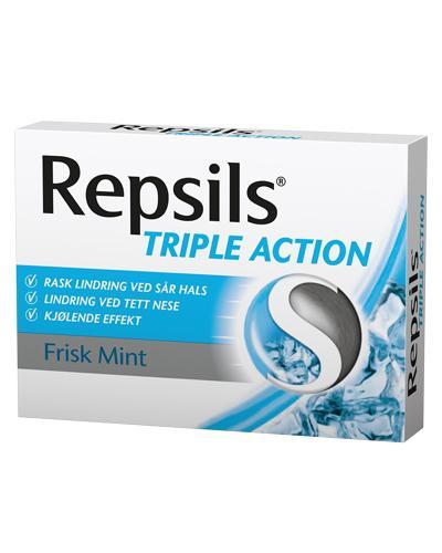 Repsils Triple Action halstabletter frisk mint 24stk