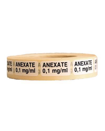 Etikett Anexate 0,1mg/ml 1000stk på rull hvit 1stk