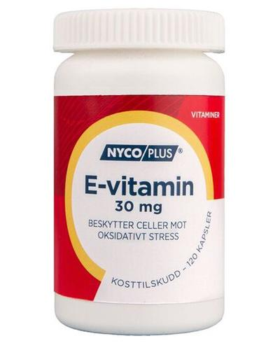 Nycoplus E-vitamin 30mg kapsler 120stk