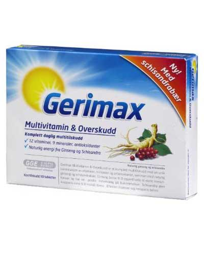 Gerimax multivitamin & overskudd tabletter 90stk