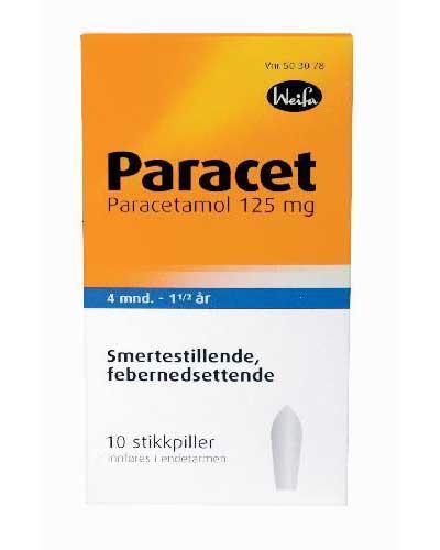 Paracet 125mg stikkpiller 4-18mndr 10stk