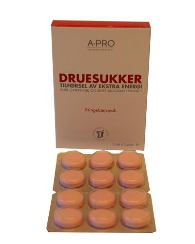 A-pro druesukker 2g tabletter bringebærsmak 12stk