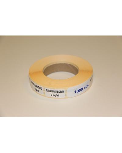 Etikett Natriumklorid 9mg/ml, hvit 1000stk