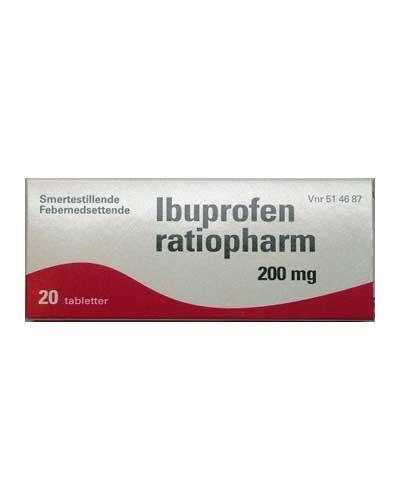 Ibuprofen ratiopharm 200mg tabletter 20stk