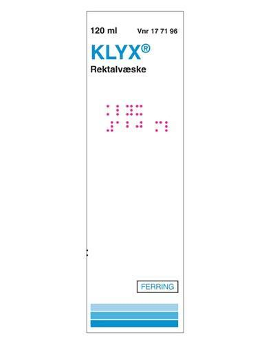 Klyx Rektalvæske, oppløsning 1 mg/ml/250 mg/ml 120ml