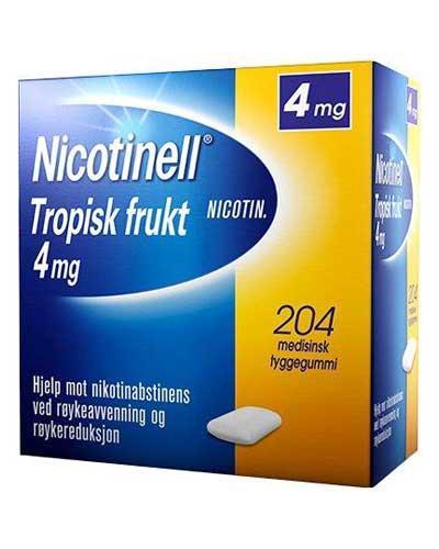 Nicotinell 4mg tyggegummi tropisk frukt 204stk