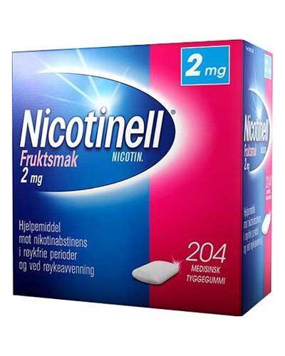 Nicotinell 2mg tyggegummi frukt 204stk