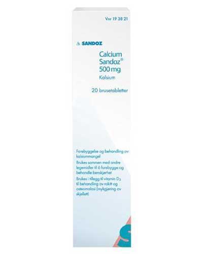 Calcium-Sandoz 500mg brusetabletter 20stk