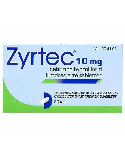 Zyrtec 10mg tabletter 30stk