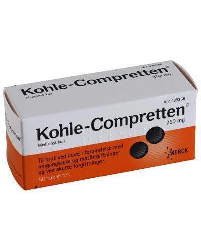 Kohle-Compretten 250mg kulltabletter 50stk