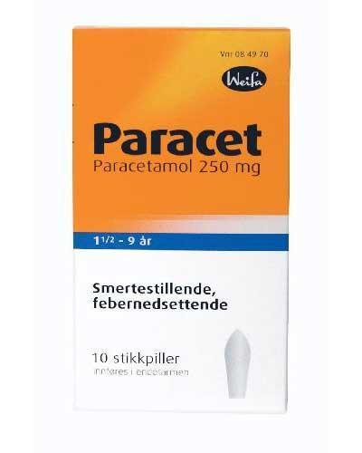 Paracet 250mg stikkpiller 18mndr-9år 10stk