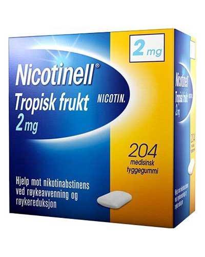 Nicotinell 2mg tyggegummi tropisk frukt 204stk