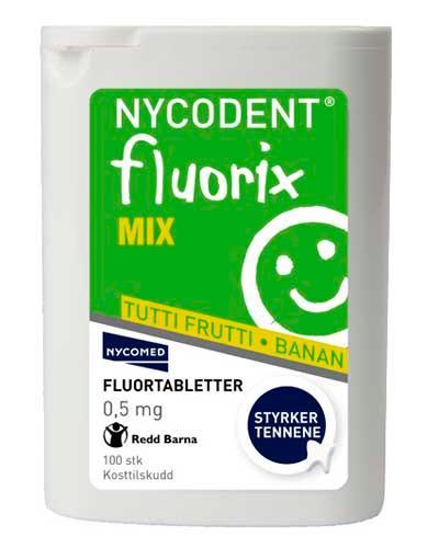 Nycodent fluorix mix 0,5mg tuttifrutti og banan 100stk